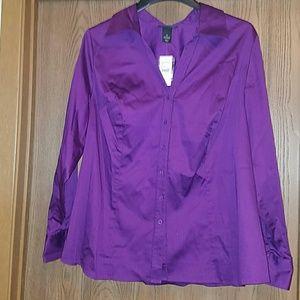 Lane Bryant purple button down blouse